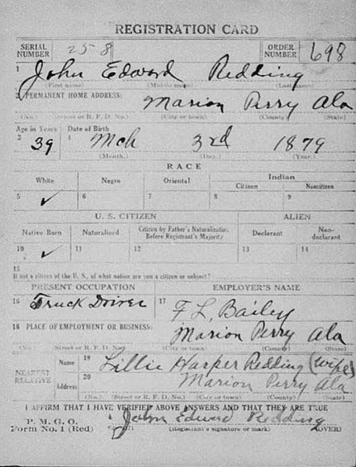 US World War I draft registration card